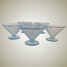 Six Blue Madrid Glass Sherbets