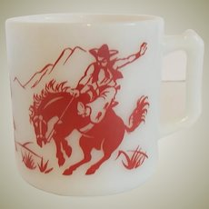 Hazel Atlas Kiddie Ware Mug Cowboy and Indian