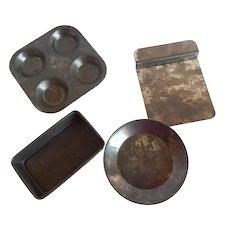 Set of Four Metal Child's Toy Baking Pans