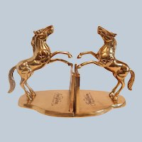 Advertising Brass Horse Bookends