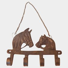 Brass Wall Hanger With Horse Heads