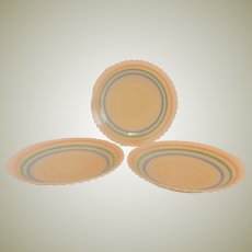 Three MacBeth-Evans Glass Petalware Pastel Saucers