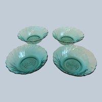 Four Jeannette Glass Ultramarine Swirl Cereal Bowls