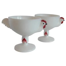 Two Westmoreland Rooster Milk Glass Custard Cups