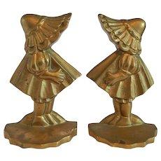 Sun Bonnet Girls Brass Bookends