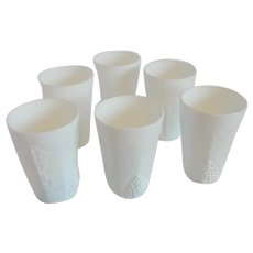 Six Indiana Glass Harvest Grape Milk Glass Tumblers