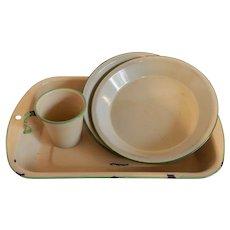 Green Enamel Ware Baking Pan Two Pie Plates Cup