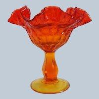 Fenton Art Glass Amberina Thumbprint Compote