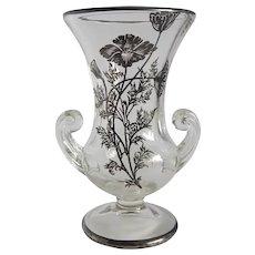 Silver Overlay Floral Design Vase