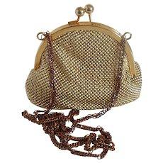 Whiting and Davis International Gold Tone Mesh Hand Bag