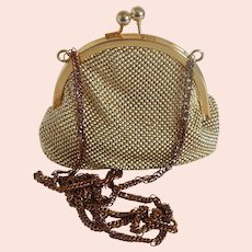 Whiting and Davis International Gold Tone Mesh Hand Bag