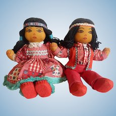 Two handmade Suzy Belle Hualapai Indian Dolls