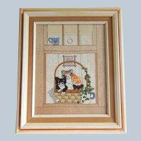 Vintage Kitten Embroidery Framed Picture