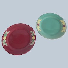 Two Coors Pottery Rosebud Plates Green Red