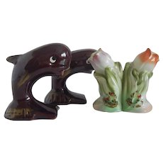 Two Salt And Pepper Shaker Sets Whales Flowers