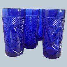Six Cristal D' Arques Durand Sapphire Cobalt Blue Cooler Tumblers