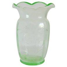 Tiffin Glass Uranium Vaseline Vase