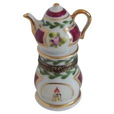 Limoges France Teapot Warming Stand Trinket Box