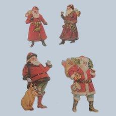 Four Die Cut Merrimack Santa Claus Ornaments