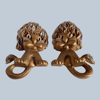 Homco Interior Lion Wall Plaques
