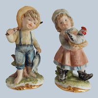 Lefton Boy and Girl Ceramic Figurines