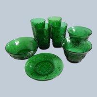 Eight Hocking Glass Sandwich Forest Green Pieces