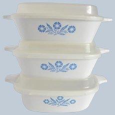 Three Corning Ware  Blue Cornflower Petite Pan with Lids