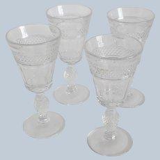 Four Mogantown Eton Crystal Goblets