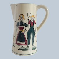 Folk Art Ceramic Farmer and Wife Pitcher