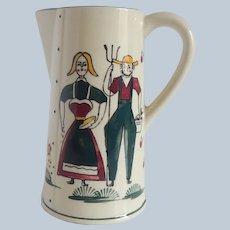Folk Art Ceramic Farmer and Wife Pitcher