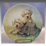 Knowles 1991 Gone Fishin Collector Plate dog