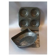 Set of Four Metal Child's Toy Baking Pans