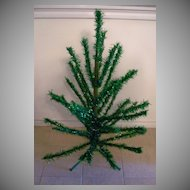 Vintage Green Tinsel Christmas Tree