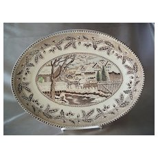 Currier & Ives   Brown Platter Japan