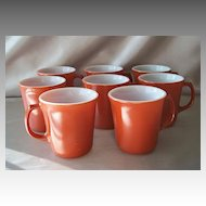 Eight Burnt Orange Corning  Mugs