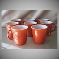 Eight Burnt Orange Corning  Mugs