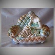 Ucagco Lady Sitting On Sofa Trinket Box Figurine