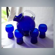 Cambridge Cobalt Blue Pitcher And Four Tumblers
