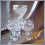 Six Imperial Glass Crystal Tall Sherbets