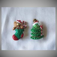 Two Christmas Pins Hallmark Cards
