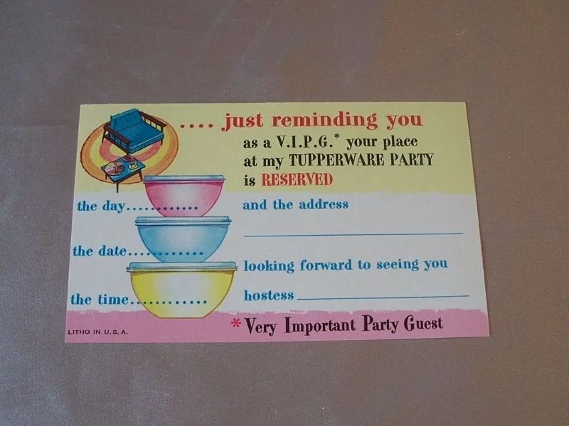 Vintage Tupperware Invitation Party Post Card : Colemans ...