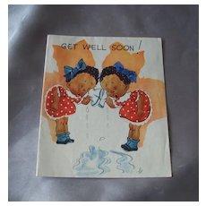 Vintage Black Americana Get Well Soon Greeting Card