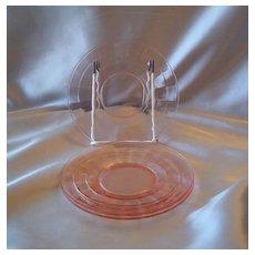 Three Pink Block Optic Sherbet Plates
