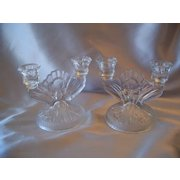 Pair Crystal Jeannette Glass  Iris and Herringbone Candlesticks