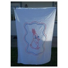 Baby Crib Chenille Bedspread with Rabbit