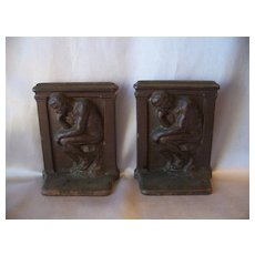 Vintage Cast Iron  Bookends The Thinker