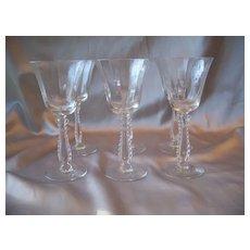Six Fostoria Glass Crystal Silver Flutes Claret Wine Goblets