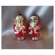 Two  Vintage Glass Santa Claus Christmas Ornaments