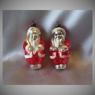Two  Vintage Glass Santa Claus Christmas Ornaments