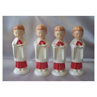 Four Wales Ceramic Christmas Choir Boys